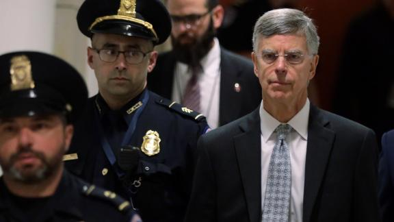 Bill Taylor, the top US diplomat to Ukraine, arrives at a closed session before the House Intelligence, Foreign Affairs and Oversight committees on October 22, 2019, at the US Capitol in Washington.