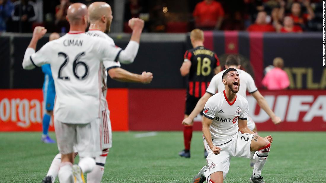 Justin Morrow of Toronto FC celebrates after its 2-1 win over Atlanta United in the Eastern Conference Finals.