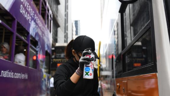 A protester in Central, a business district in Hong Kong, on November 12, 2019.