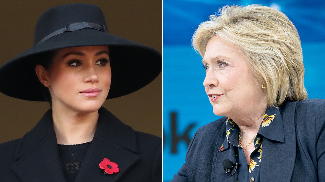 LEFT: LONDON, ENGLAND - NOVEMBER 10: Meghan, Duchess of Sussex attends the annual Remembrance Sunday memorial at The Cenotaph on November 10, 2019 in London, England.  (Photo by Chris Jackson/Getty Images)  RIGHT: NEW YORK, NEW YORK - NOVEMBER 06: Hillary Rodham Clinton, Former First Lady, U.S. Senator, U.S. Secretary of State speaks onstage at 2019 New York Times Dealbook on November 06, 2019 in New York City. (Photo by Mike Cohen/Getty Images for The New York Times)