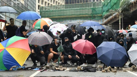 Protesters gather in the Central district of Hong Kong on November 12, 2019.