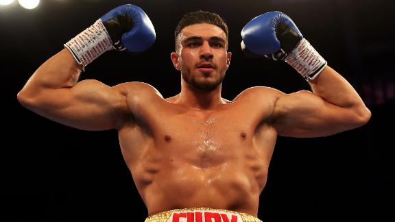 LEICESTER, ENGLAND - MARCH 23:  Tommy Fury of England celebrates his win against Callum Ide of England during the Light-Heavyweight contest fight at Morningside Arena on March 23, 2019 in Leicester, England. (Photo by Matthew Lewis/Getty Images)