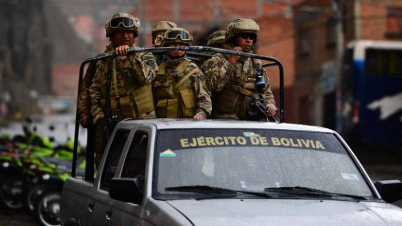 Soldiers pictured on the streets of La Paz on Tuesday.