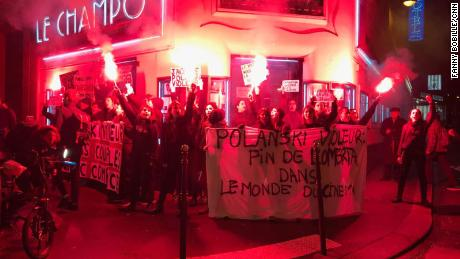 Protesters in Paris block the entrance to a cinema scheduled to show Roman Polanski's film.
