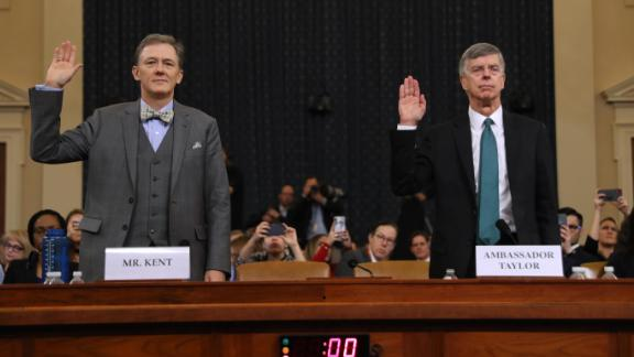 Deputy Assistant Secretary for European and Eurasian Affairs George P. Kent (L) and top U.S. diplomat in Ukraine William B. Taylor Jr. are sworn in before testifying before the House Intelligence Committee in the Longworth House Office Building on Capitol Hill November 13, 2019 in Washington, DC.
