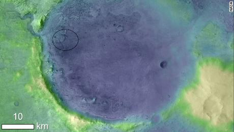 The Rover 2020 lands in the oval of the Jezero Crater.