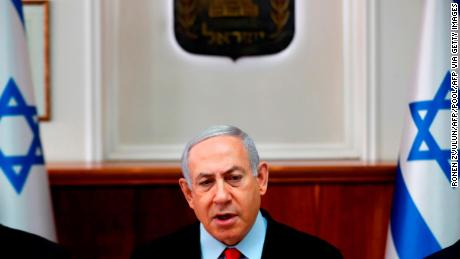"Israeli Prime Minister Benjamin Netanyahu chairs a cabinet meeting in Jerusalem November 13, 2019. - Netanyahu saidthat Islamic Jihad militants in Gaza must stop rocket attacks or ""absorb more and more blows"" as an escalation of violence raged for a second day. (Photo by RONEN ZVULUN / POOL / AFP) (Photo by RONEN ZVULUN/POOL/AFP via Getty Images)"