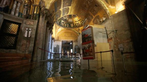 The entrance to St. Mark's Basilica is flooded on November 12.