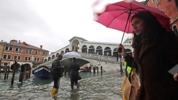The high tide is seen near the Rialto Bridge in Venice.