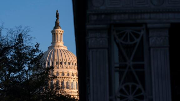 The Capitol dome is seen early Wednesday morning before Amb. William Taylor And Deputy Assistant Secretary Of State George Kent testify at the first public impeachment hearing before the House Intelligence Committee on Capitol Hill November 13, 2019 in Washington, DC.