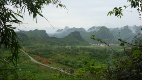 Landscape of the area around Chuyfeng Cave in China