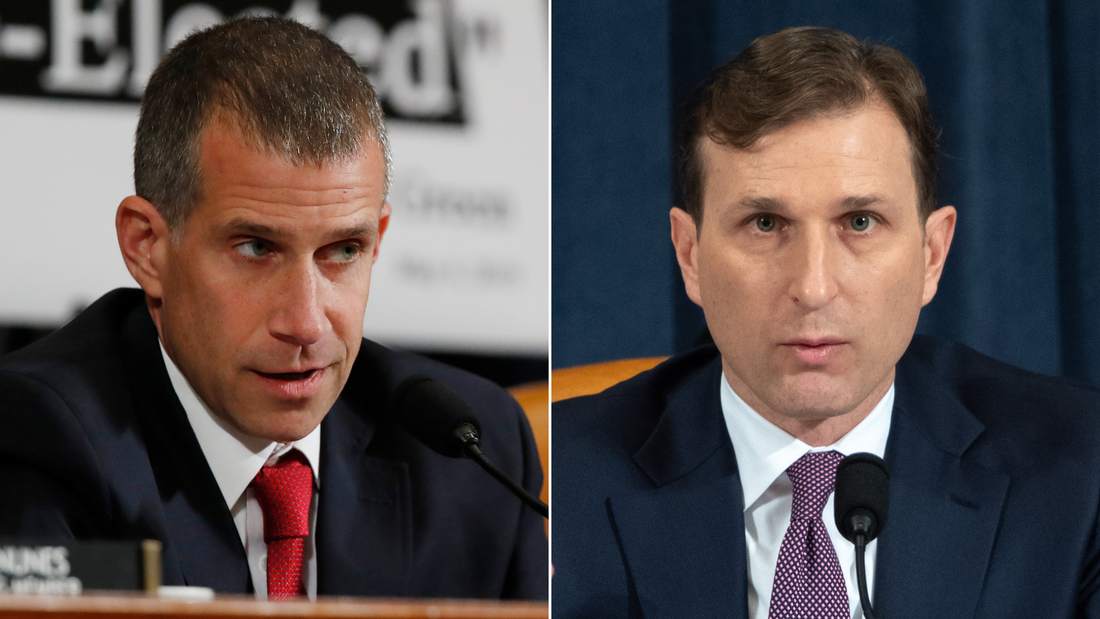 At left, Steve Castor is an attorney for Republicans on the House Intelligence Committee, and, at right, Adam Goldman is Democrats