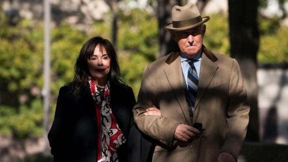 Roger Stone and his wife Nydia Stone return to the Prettyman Courthouse for his trial after lunch on November 13, 2019 in Washington, DC.