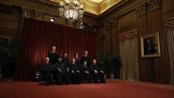 U.S. Supreme Court Justices pose for their official portrait at the in the East Conference Room at the Supreme Court building November 30, 2018 in Washington, DC.