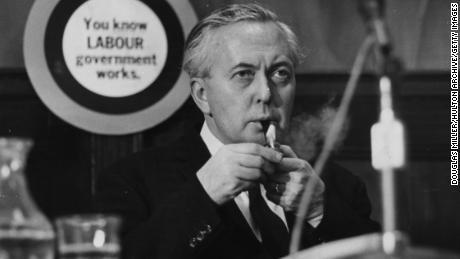 Harold Wilson lit his pipe at the Labor Party conference in 1966.