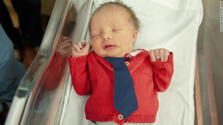 Newborn Babies At A Pittsburgh Hospital Dressed Up As Mister Rogers For Cardigan Day Cnn