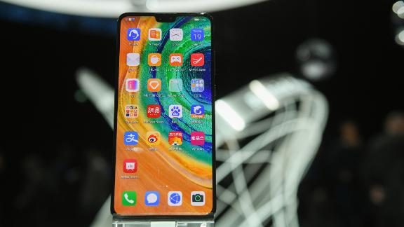 "Huawei's ""Mate 30 Pro"", the latest smartphone by the Chinese tech giant Huawei is displayed after a presentation to reveal Huawei's latest smartphones ""Mate 30"" and ""Mate 30 Pro"" in Munich, southern Germany, on September 19, 2019."