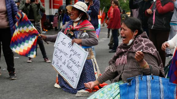 Indigenous Bolivians take to the streets in support of former President Evo Morales.