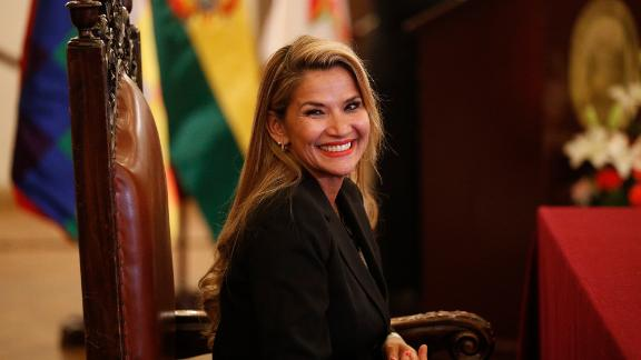 Jeanine Anez smiles during the swearing-in ceremony of her new cabinet at the presidential palace in La Paz, Bolivia, on Wednesday.