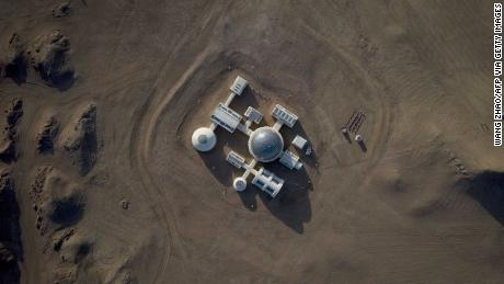 "This aerial photo taken on April 17, 2019 shows ""Mars Base 1"", a C-Space Project, in the Gobi desert, some 40 km from Jinchang in China's northwest Gansu province on April 17, 2019."