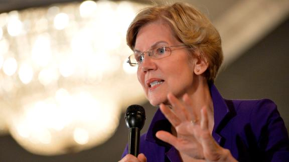 Democratic presidential hopeful Massachusetts' Senator Elizabeth Warren speaks at the Holiday Inn in Concord New Hampshire, after signing papers to officially enter the New Hampshire Primary race on November 13, 2019.
