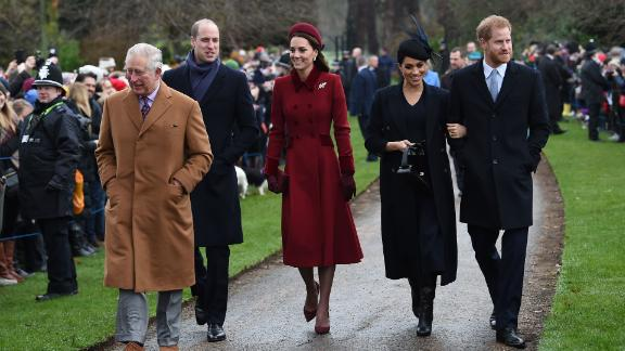 Prince Charles, William, Kate, Meghan and Harry arrive for the family