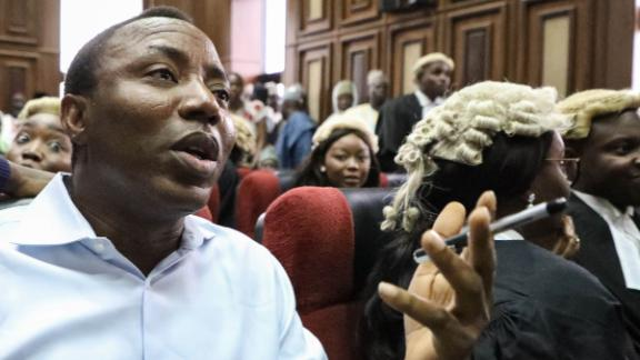 "Convener of ""#Revolution Now"" Omoyele Sowore speaks during his arraignment for charges against the government at the Federal High Court in Abuja, on September 30, 2019. - Nigeria"