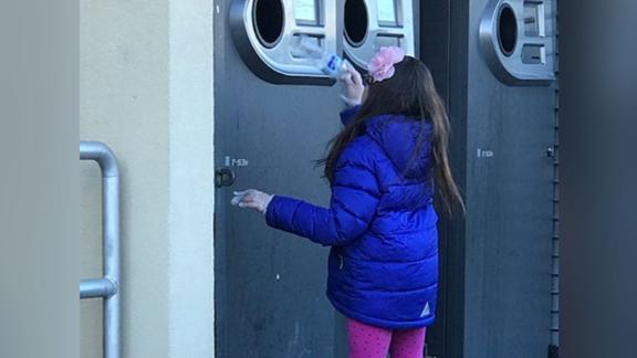 Abigail Moen cashes in  bottles twice a week.
