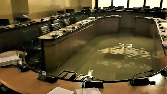 Flooding inside Palazzo Ferro Fini in Venice on the evening of Tuesday, November 12.