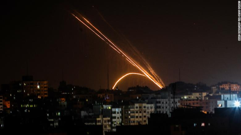 Rockets fired from the Gaza Strip toward Israel on Wednesday.