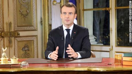 President Emmanuel Macron speaks during a special address to the nation about the Gilets protests Jaunes at the Elysee Palace in Paris on December 10, 2018.