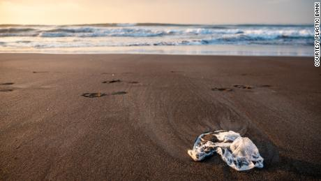 Plastic washed up on the beach in Indonesia, where Plastic Bank has collaborated by household goods giant SC Johnson to set up its collection store.