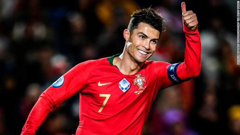 Portugal's forward Cristiano Ronaldo now has 98 international goals.