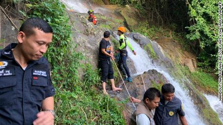 A Spanish man died in July at the same waterfall.