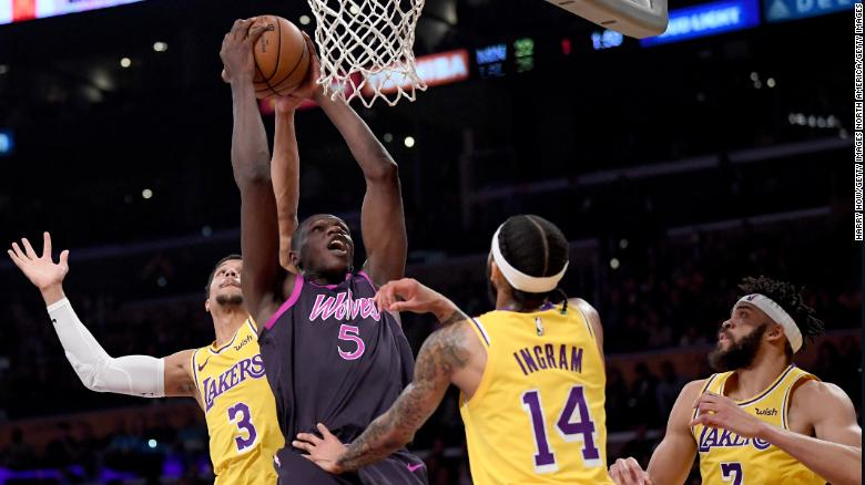 Dieng grabs a rebound against the LA Lakers.
