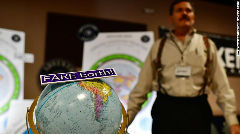 A merchandise stall at last year's Flat Earth International Conference in Denver, Colorado.