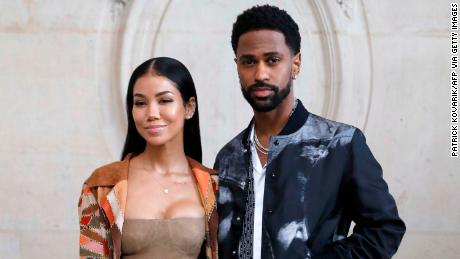 US singer and sonwriter Jhene Aiko (L) and US rapper Big Sean (R) poses for a photocall prior to the Christian Dior's fashion show during the 2018 spring/summer Haute Couture collection on January 22, 2018 in Paris. / AFP PHOTO / Patrick KOVARIK        (Photo credit should read PATRICK KOVARIK/AFP via Getty Images)