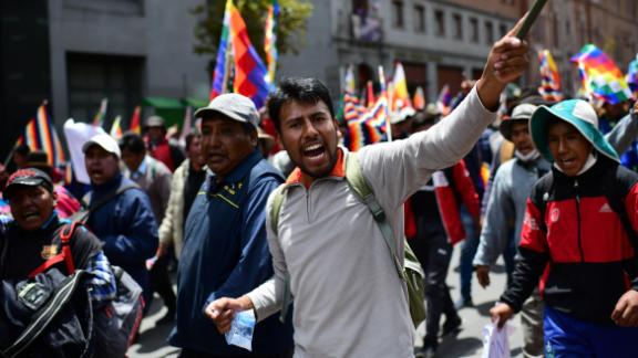 Supporters of Bolivian ex-President Evo Morales protest against the interim government in La Paz.