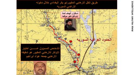 A map from Iraqi intelligence shows al-Baghdadi & # 39; s travels north along the Euphrates River in Syria as well as his brother who helped him choose hiding places.