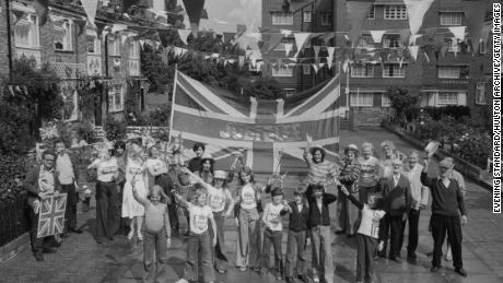 Street party during Queen 1977 Silver Anniversary.