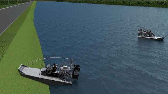 This illustration shows how a slope, which is part of the design, would allow boats to pull up.