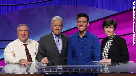 Francois Barcombe, Danger! hosted by Alex Trebek, James Holzhauser and Emma Bottcher at the Champions Show.