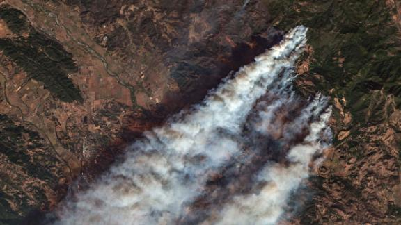 Kincade Fire in Northern California, as shot by the Sentinel-2 satellite on October 27.
