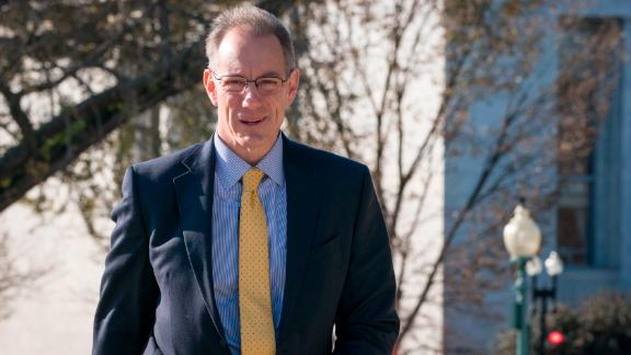Mark Sandy, a senior career official at the Office of Management and Budget, arrives earlier this month to the US Capitol for a closed door deposition with lawmakers.