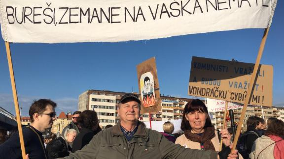 Miloslava and Pavel Šimáček march in Prague on Saturday -- 30 years after they took part in the Velvet Revolution protests.