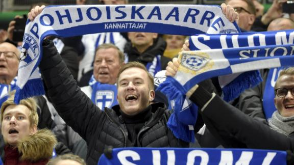 Finnish fans celebrate the 1-0 during the UEFA Euro 2020 Group J qualification football match between Finland and Liechtenstein in Helsinki, Finland, on November 15, 2019. (Photo by Markku Ulander / Lehtikuva / AFP) / Finland OUT (Photo by MARKKU ULANDER/Lehtikuva/AFP via Getty Images)