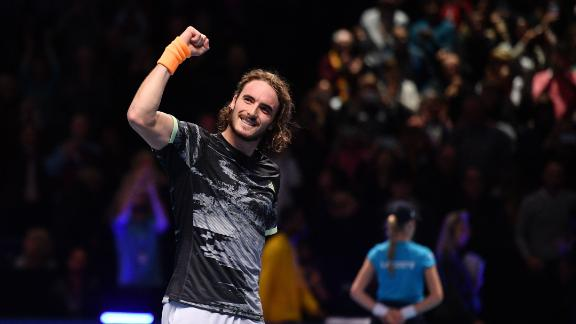 Stefanos Tsitsipas upset Roger Federer at the ATP Finals on Saturday.