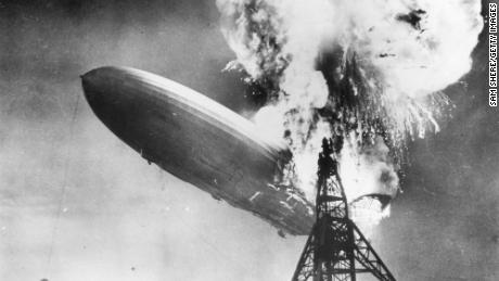 The Hindenburg disaster at Lakehurst, New Jersey in May 1937.