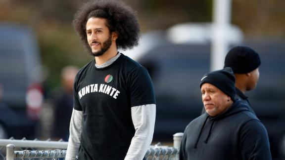 Free agent quarterback Colin Kaepernick arrives at a workout for NFL football scouts and media, Saturday, Nov. 16, 2019, in Riverdale, Ga. (AP Photo/Todd Kirkland)