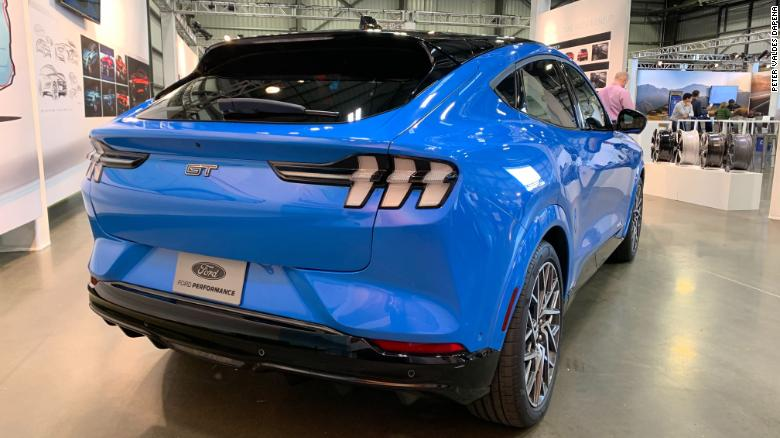 The Ford Mustang Mach-E's taillights are widely spread out to accentuate the crossover SUV's width and make it look more like a sports car.